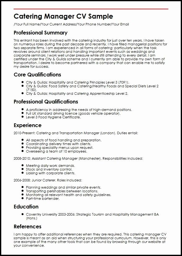 awesome catering manager cv sample in 2020  resume