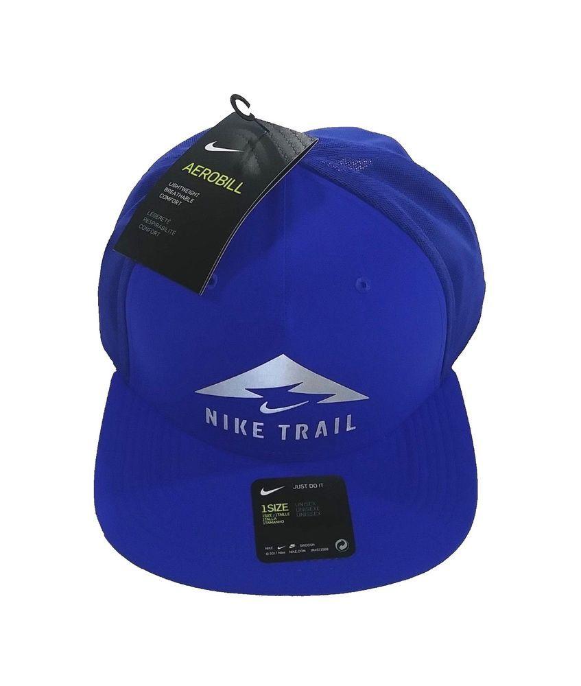 11f74a6f9e6 NIKE Trail AeroBill Dri-Fit Running Trucker Hat sz OSFM One Size Fits Most  Blue