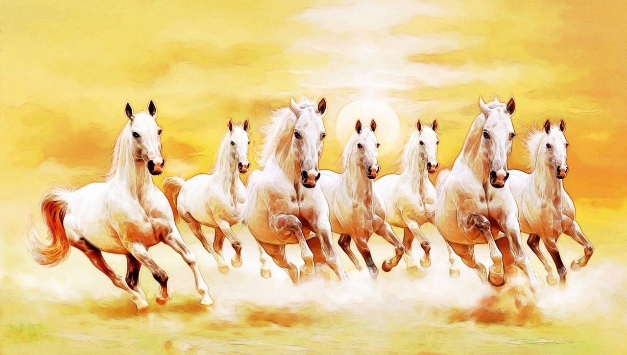 Image Result For 7 Horses Vastu Hd Wallpaper Horse Canvas Painting Horse Painting White Horse Painting