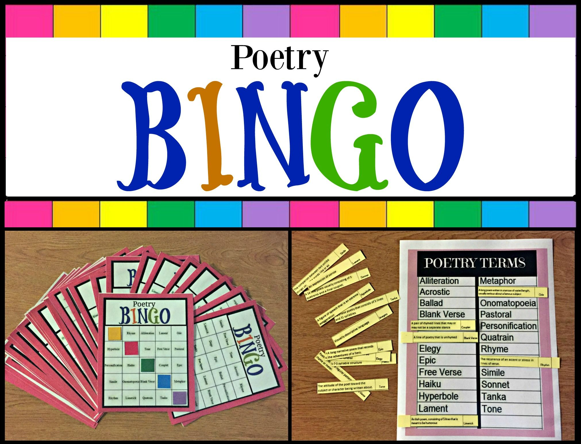 Poetry terms review game, BINGO style. Help students
