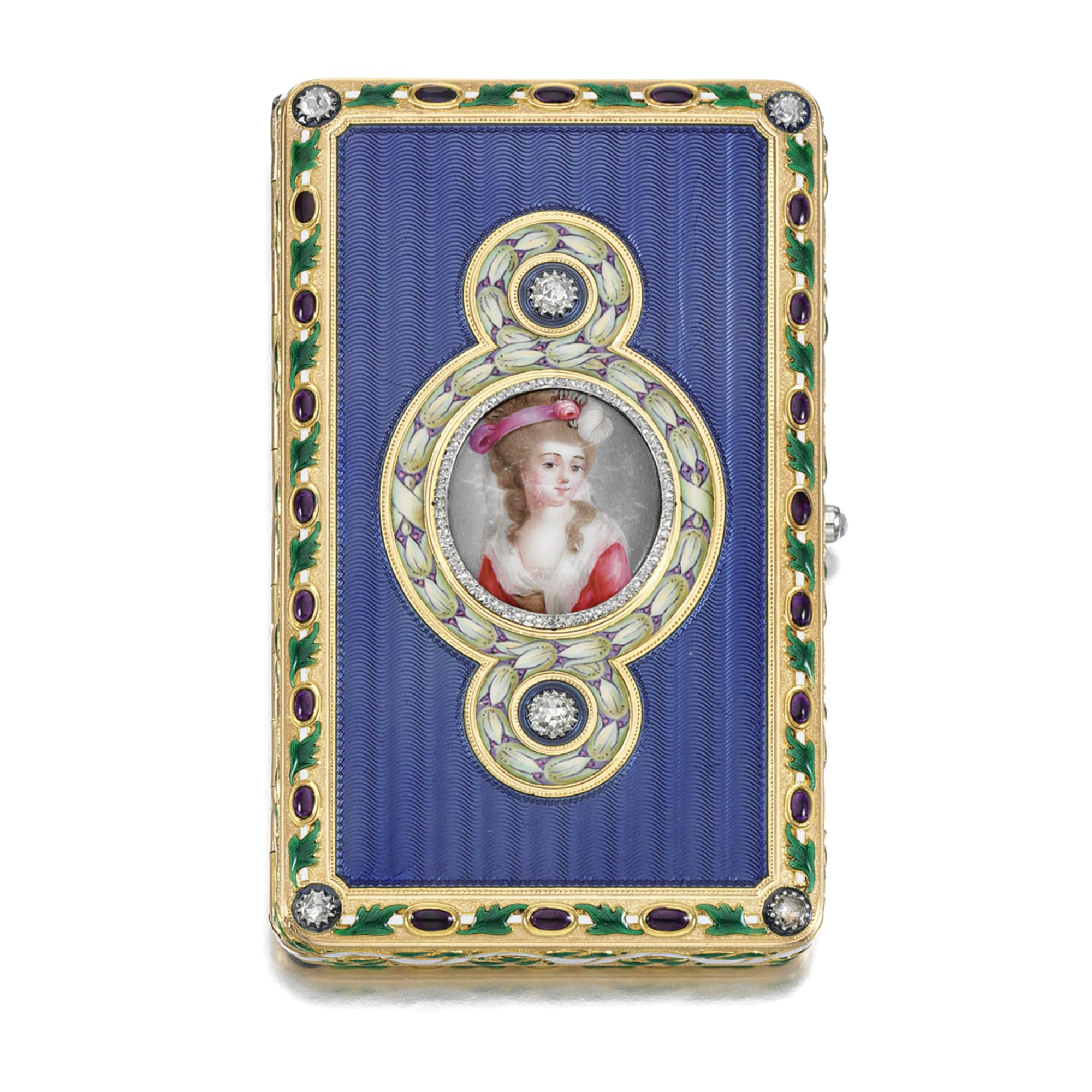 ENAMEL AND DIAMOND CIGARETTE CASE, PROBABLY CHARLES JACQUEAU, CARTIER, CIRCA 1910 The rectangular case to a central enamel portrait miniature depicting a lady 'Rosamond' within a frame of rose-cut diamonds encircled by a border of stylised flower heads in lilac and green enamel, to a guilloché cornflower blue enamel ground, the outer edge decorated with blue, white and green enamel, further applied with rose-cut diamonds
