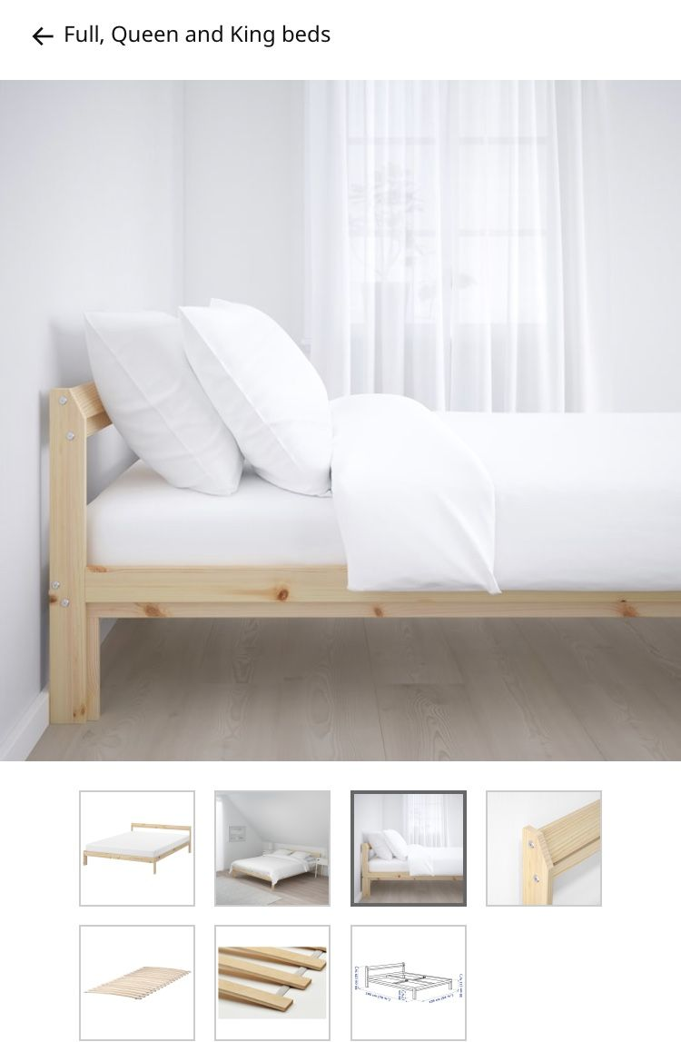 Neiden Bed Frame Pine Birch Luroy Full In 2020 With Images Ikea Bed Frames Bed Frame Wood Bed Frame