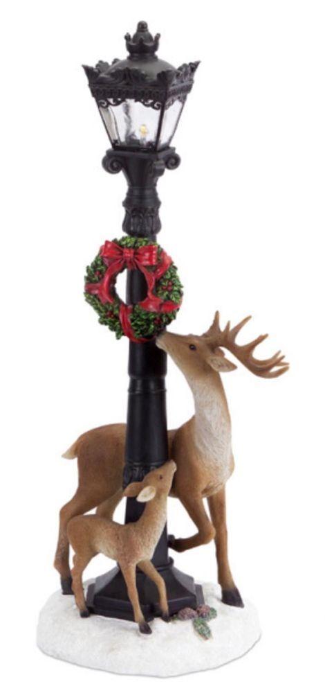 Holiday Christmas Lamp Post Post w/ Standing Deer Christmas Decor