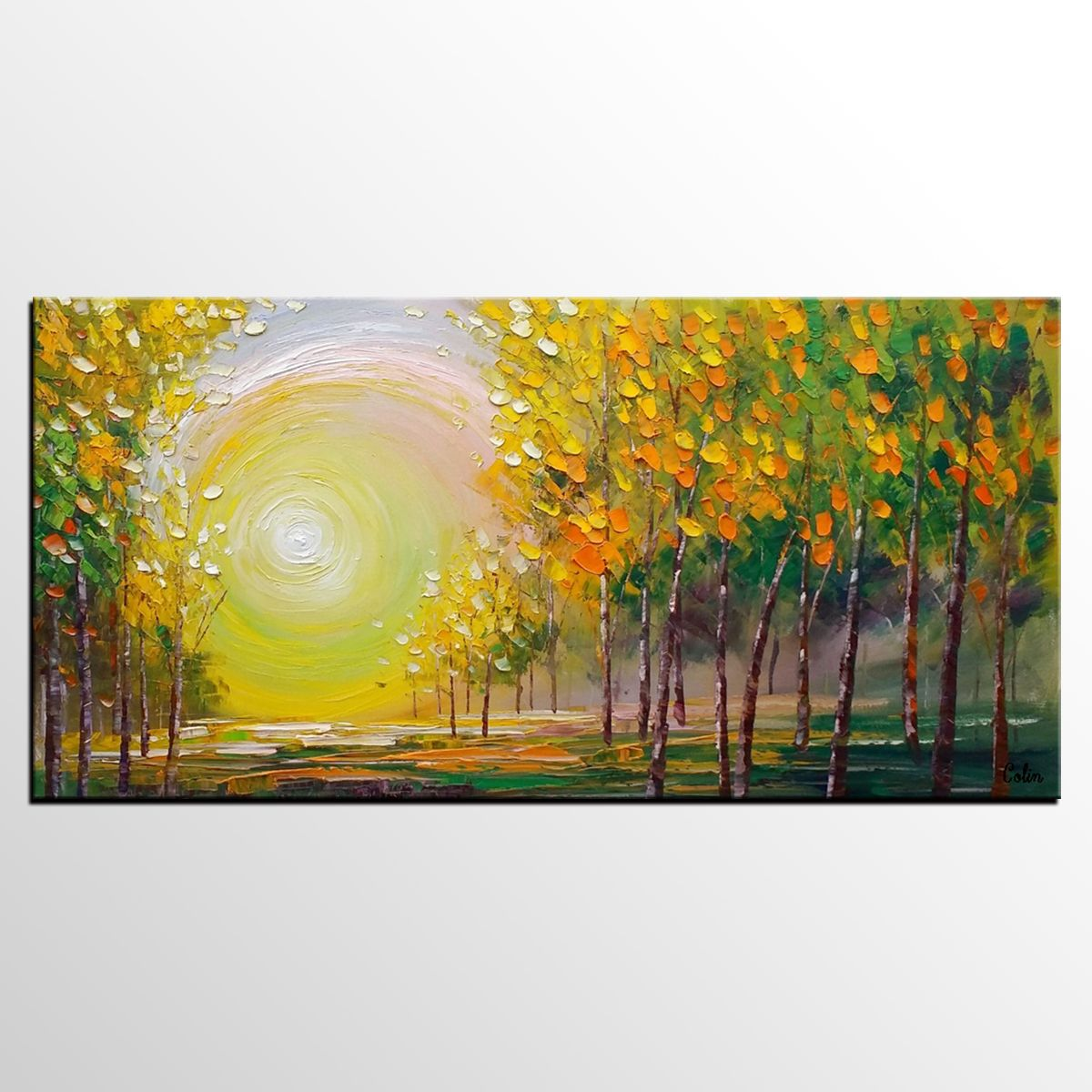 Oil Painting, Living Room Wall Art, Landscape Painting, Abstract ...