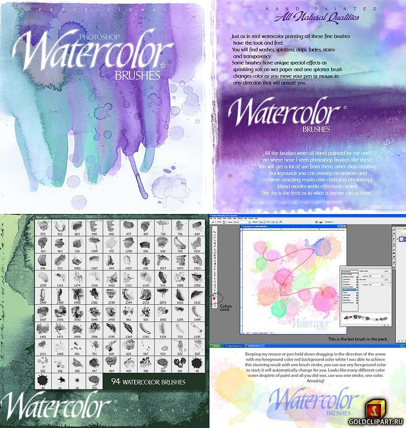 Rons Watercolor Brushes Goldclipart Ru In 2020 Sprachkunst