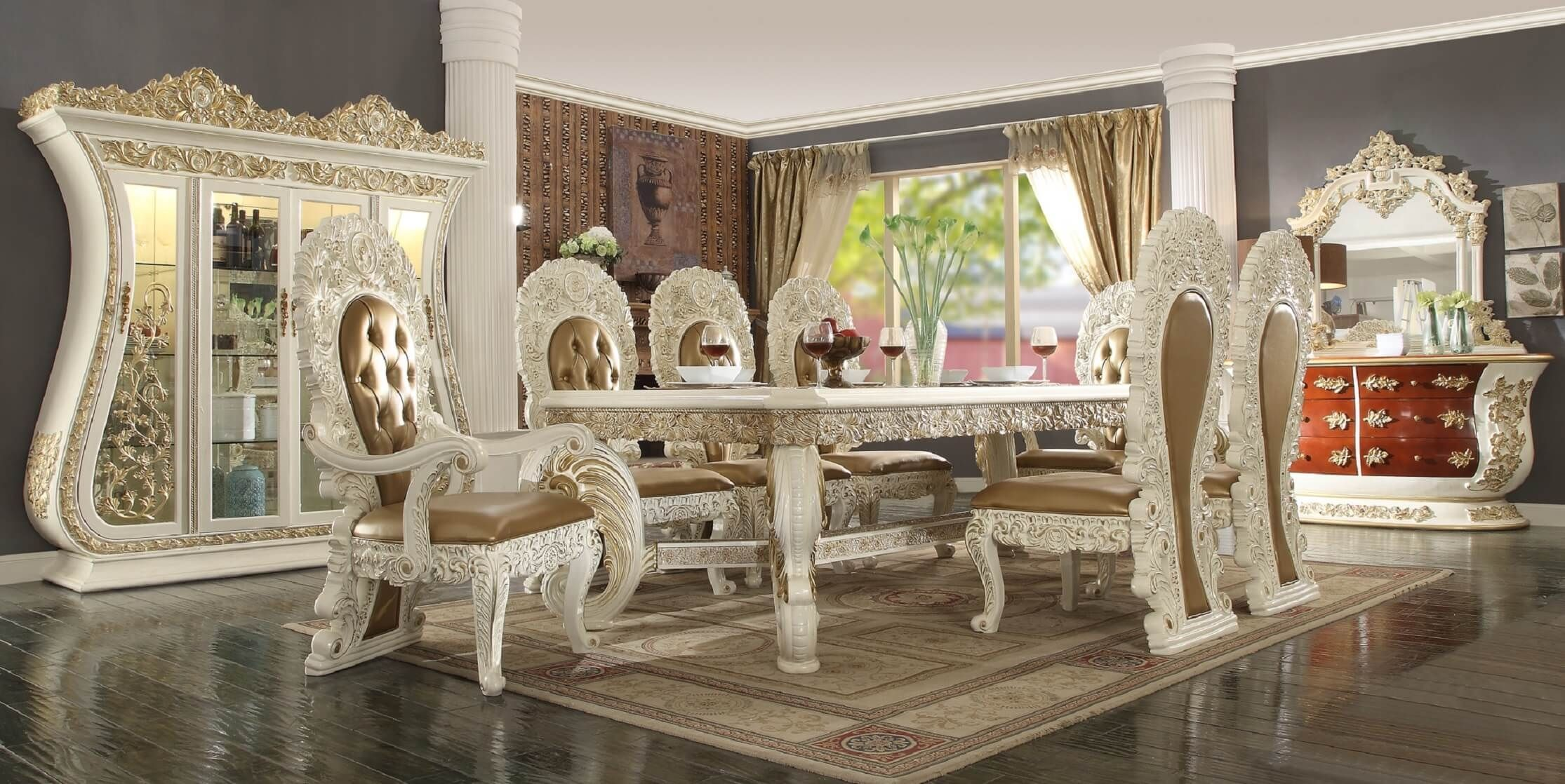 Homey Design Hd 8019 Palazzo Dining Set Antique Cream Usa Furniture Warehouse Luxury Home Furniture Rectangular Dining Table Luxury Dining Room #warehouse #living #room #furniture