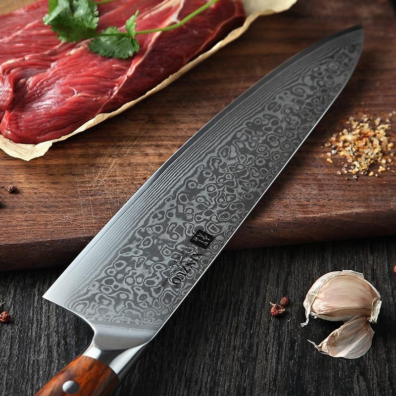 Chef Knife 10 Inch Japanese Damascus Stainless Steel Kitchen Professional Gyutou With Rose Wood Handle Stainless Steel Kitchen Chef Knife Knife