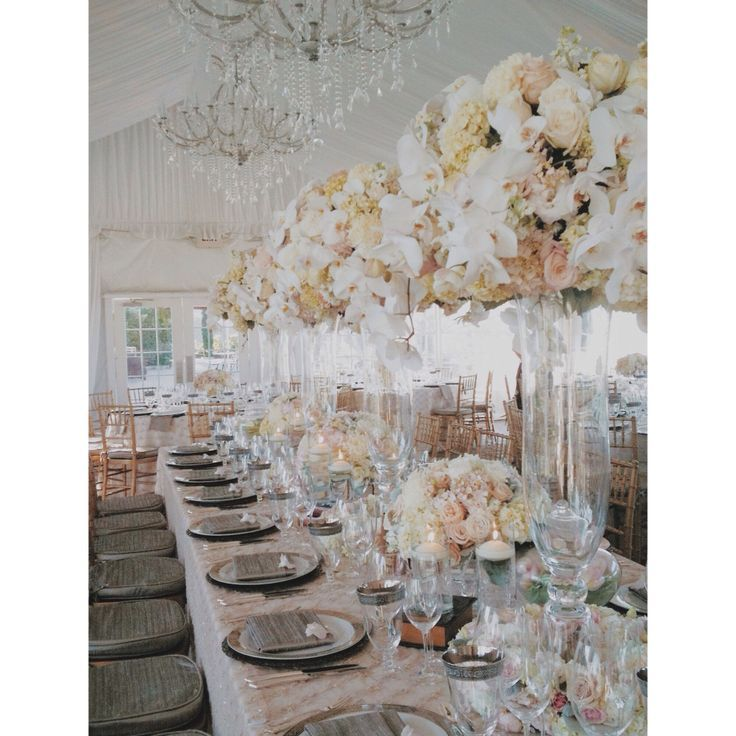 viansa romantic glamour luxury wedding white pink peach silver gold cream taupe flowers glass mercury tall
