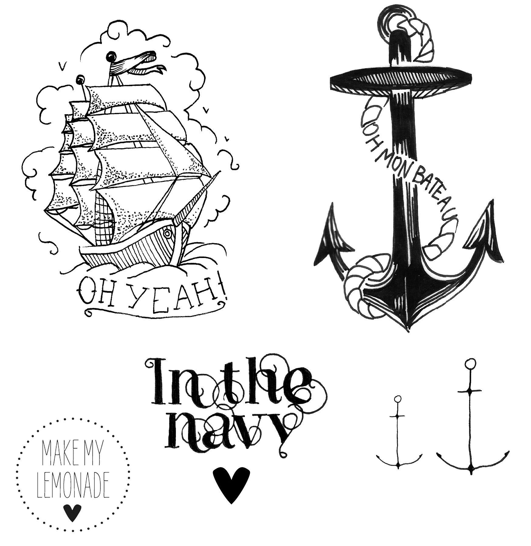 Tatoo planche2 make my lemonade ink pinterest marins tatouages et bateaux - Ancre marine dessin ...