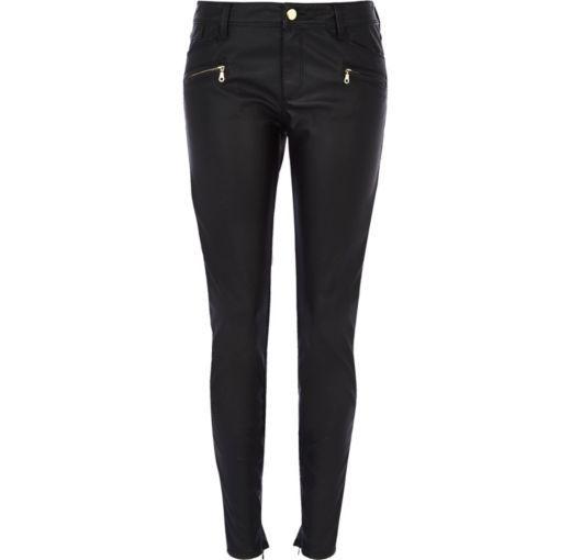 c420b9eacf90bc I'm shopping Black leather-look skinny biker trousers in the River Island  iPhone app.