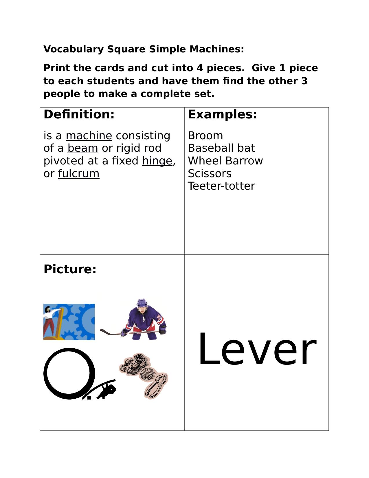 worksheet Simple Machines Matching Worksheet simple machines matching resource preview preview