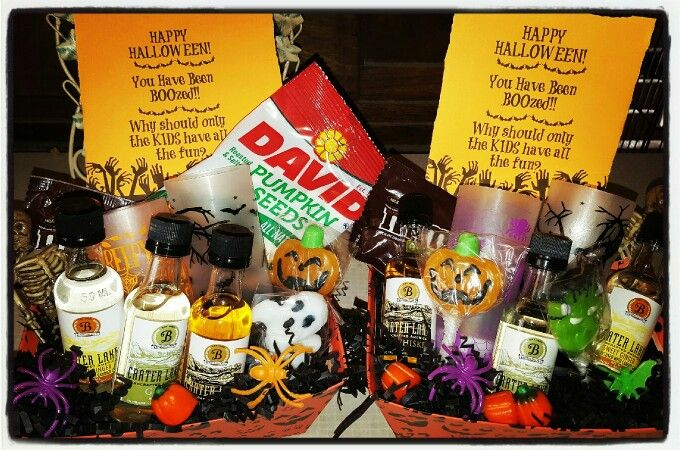 Adult Halloween Baskets!?! AWESOME! What a great gift idea for your friends or… #spookybasketideas