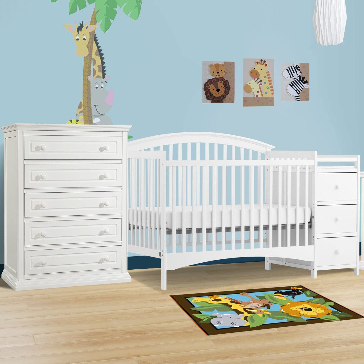 Storkcraft 2 Piece Nursery Set Bradford Convertible Crib And Concord 5 Drawer Dresser In White Free Shipping Nursery Set Cribs Convertible Crib [ 1200 x 1200 Pixel ]