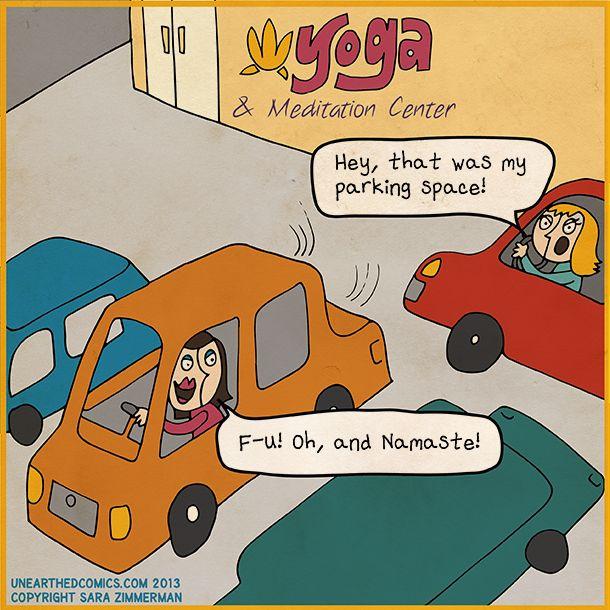 Reminds me of my parking lot...LOL #Yoga #humor #namaste