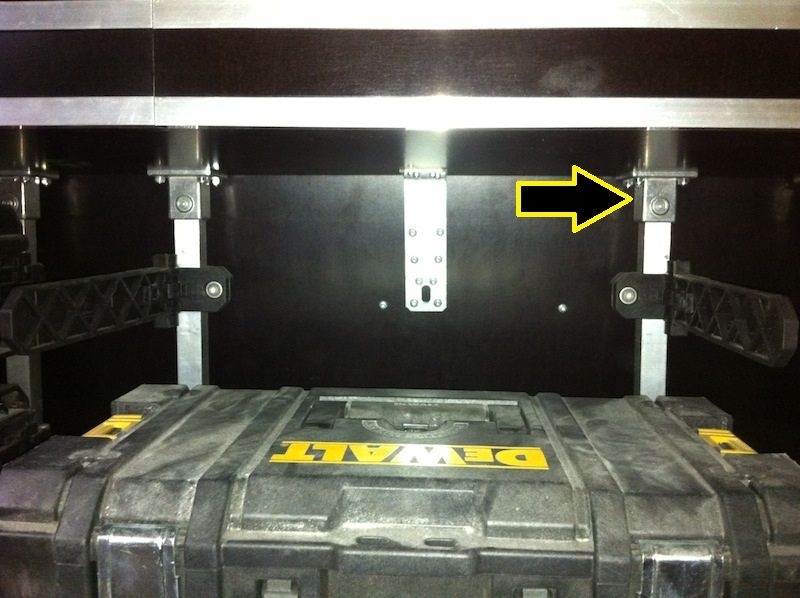 dewalt tough system van. awesome rack setup mr. yellow. can you provide some details on the mounting brackets dewalt tough system van