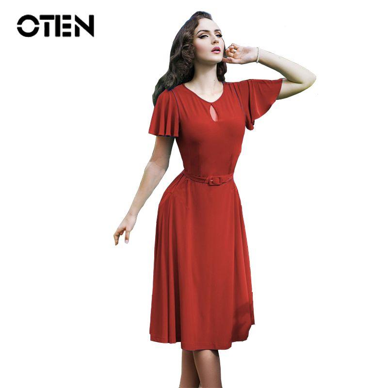 Goedkope OTEN Womens Zomer 2018 Vlinder mouw Keyhole Hol Casual kostuums  party wear Blauw Rood jurken b432913aa784