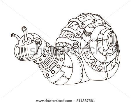 Steampunk style snail. Mechanical animal. Coloring book