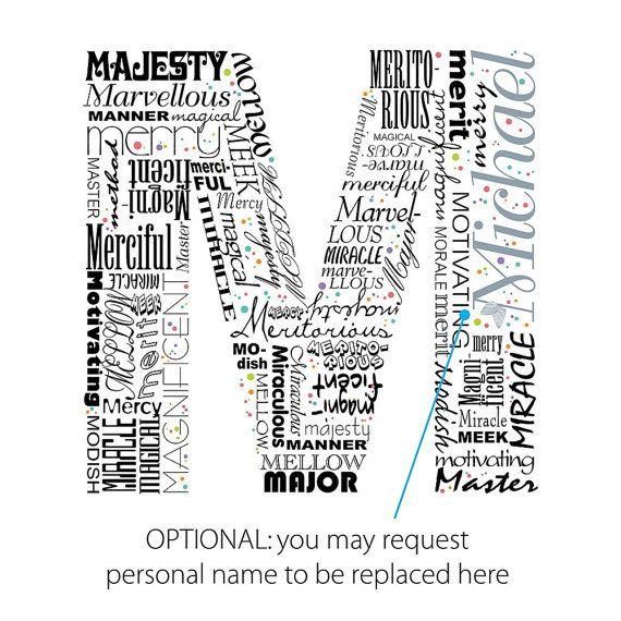 Positive Words Start With Letter M Alphabet M Monogram Lettering