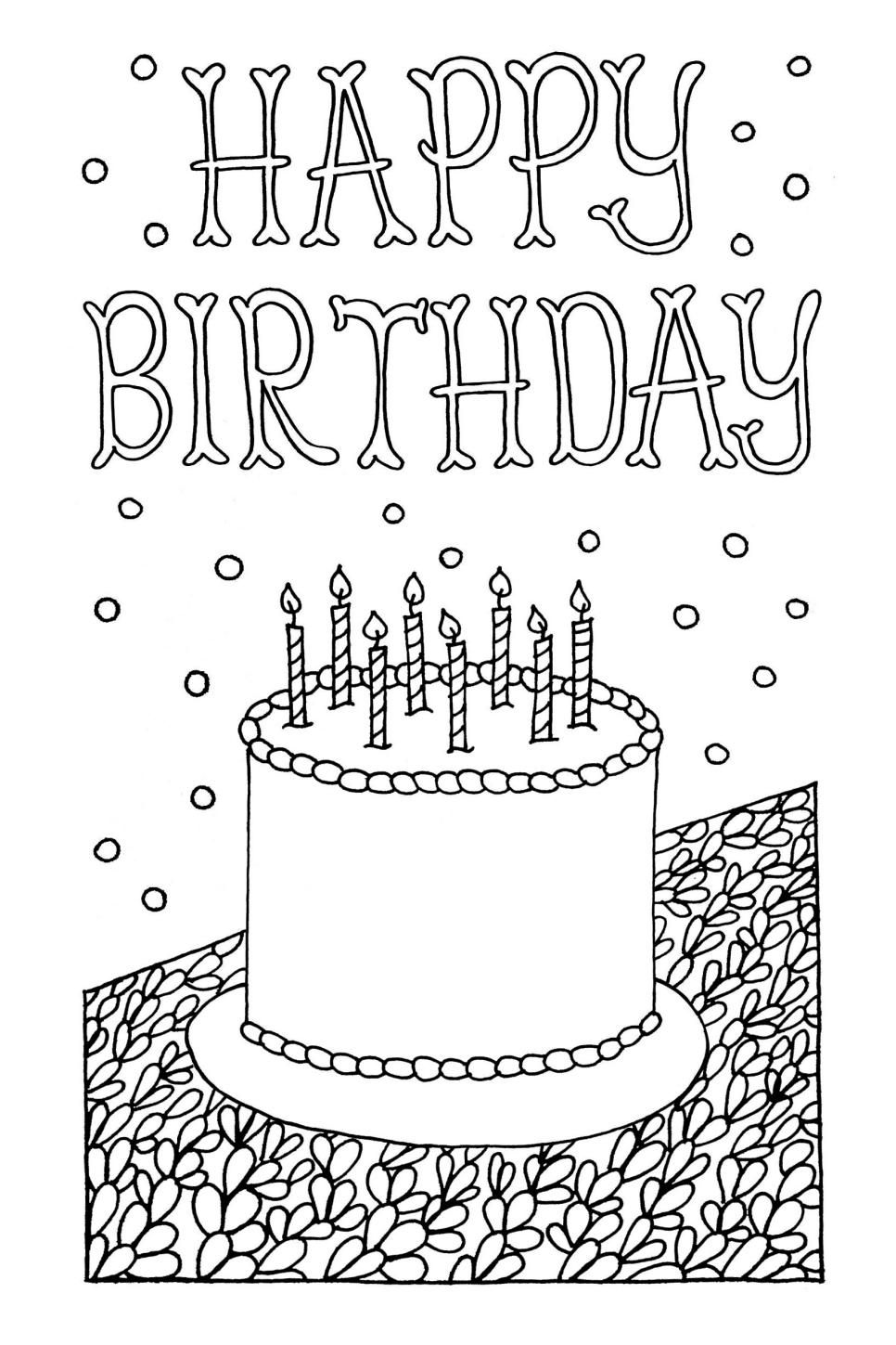 picture relating to Printable Birthday Cards to Color known as Totally free Downloadable Grownup Coloring Greeting Playing cards Do-it-yourself Presents