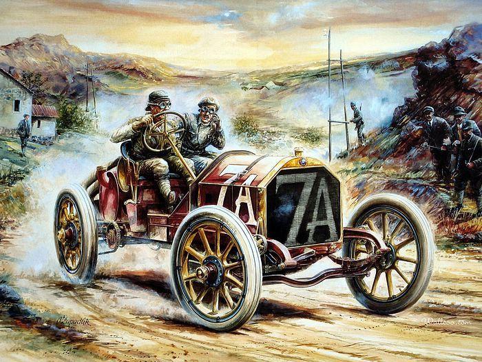 Car Hire Uk Com Review Vintage Cars And Racing Scene Automotive Art Of Vaclav Zapadlik Automotive Art Antique Cars Art Cars