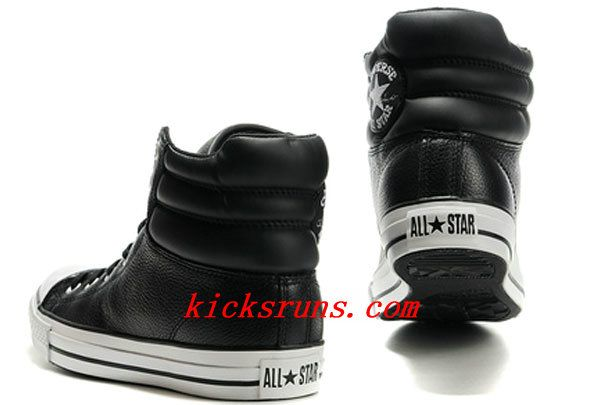 2013 New Embroidery Black Leather Converse Padded Collar