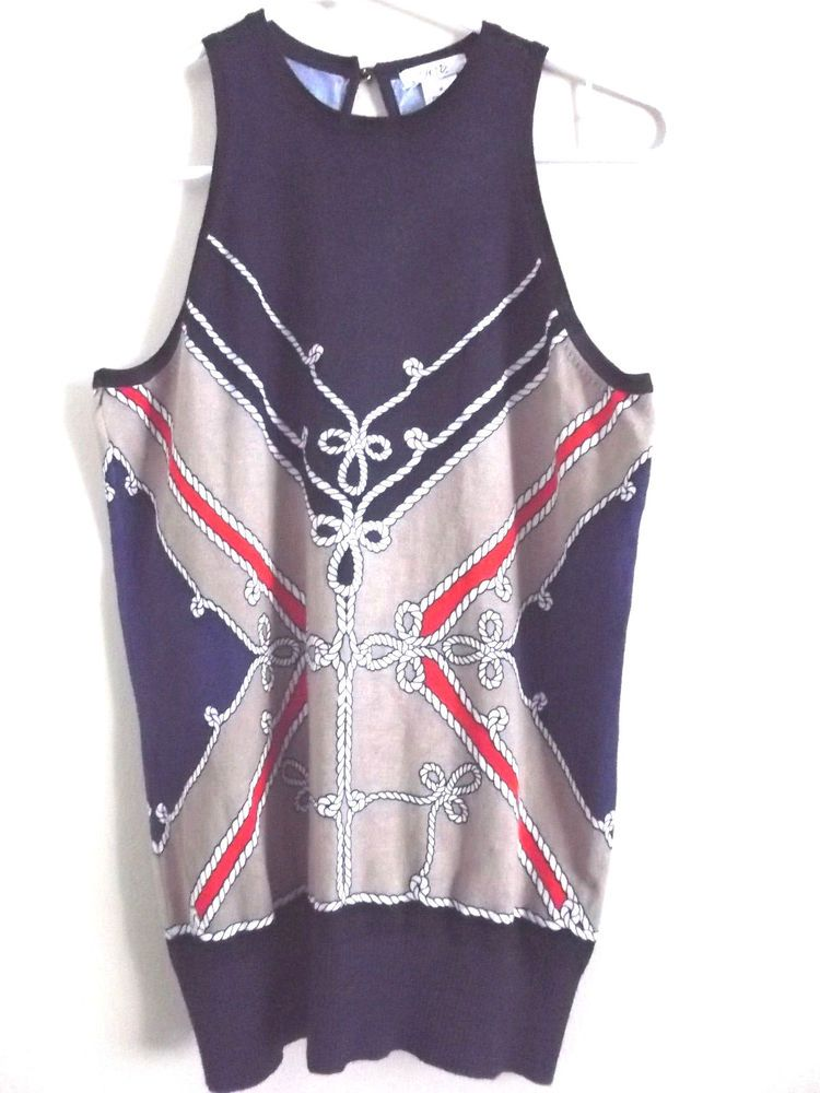 284ebdee20dfa Ladies CACHE Navy Sleeveless Nautical Rope Print Sweater Knit Top M Keyhole  Back  Cach