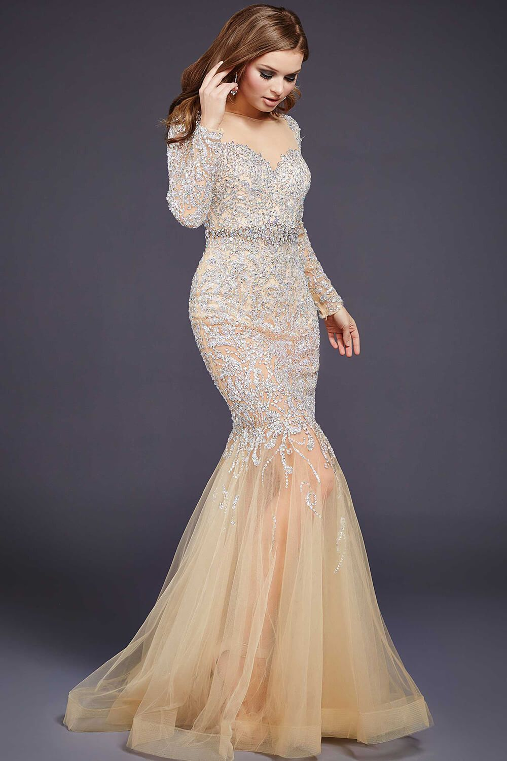 Jovani 32006 long sleeve fully embellished gown with a low back and ...