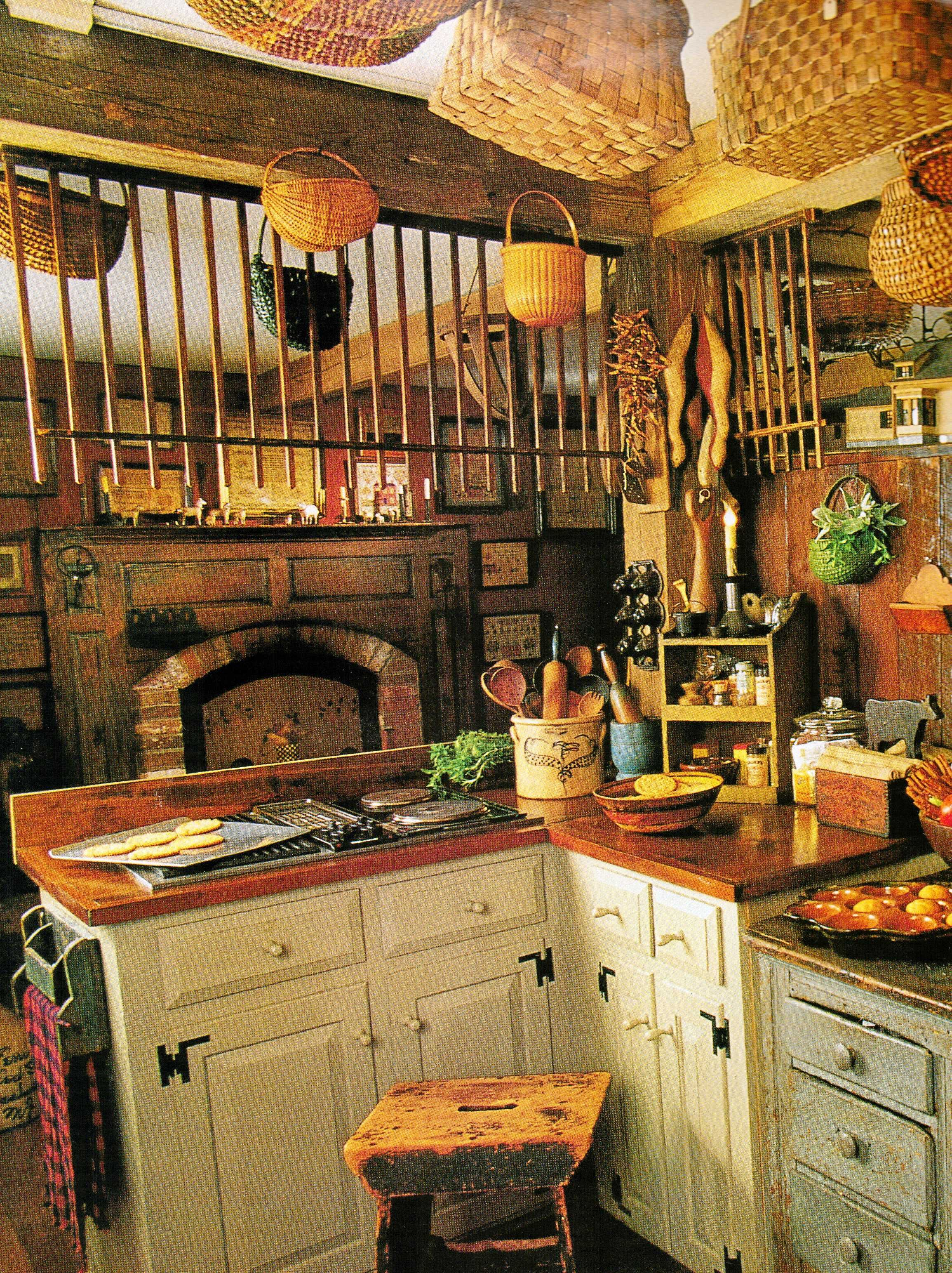 check out all the baskets great decorating idea rustic kitchen country kitchen primitive on kitchen id=14419
