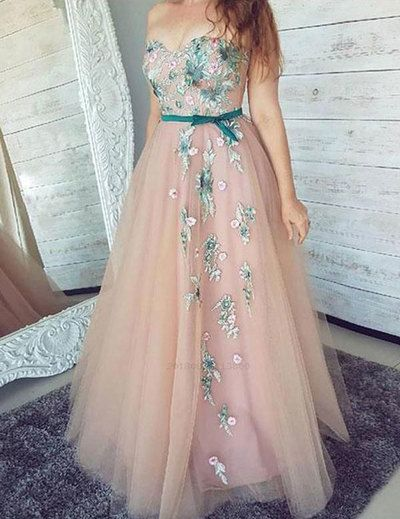 Sweetheart Long Prom Dresses with Appliques Flowers from dressydances - Pink evening dress, Prom dresses lace, Prom dresses sleeveless, Pink prom dresses, Cute prom dresses, A line prom dresses - cm (f