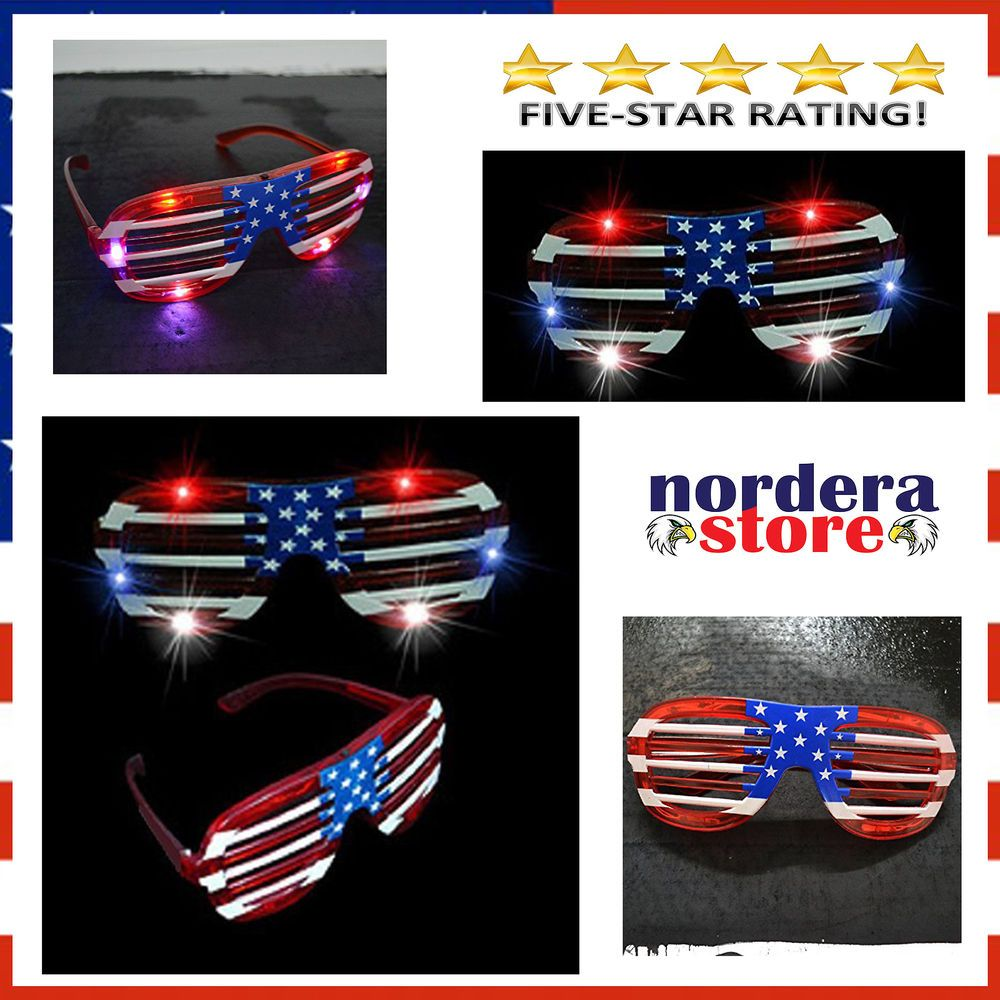c34b14be0f4 4th July Party Shades Glasses USA American Flag LED Flashing Light 12 Pairs  NEW  MammothSales