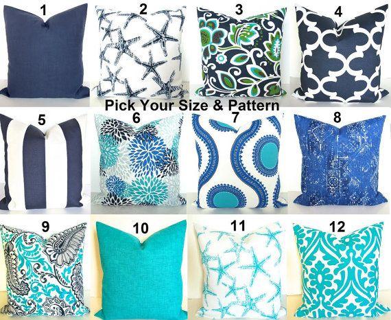 Blue Outdoor Pillows Throw Beach Turquoise 16 18 20x20 Aqua Green Gray Pillow Cover Grey