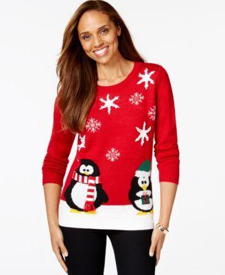 Macys Christmas Sweaters.Karen Scott Petite Holiday Penguin Sweater Only At Macy S