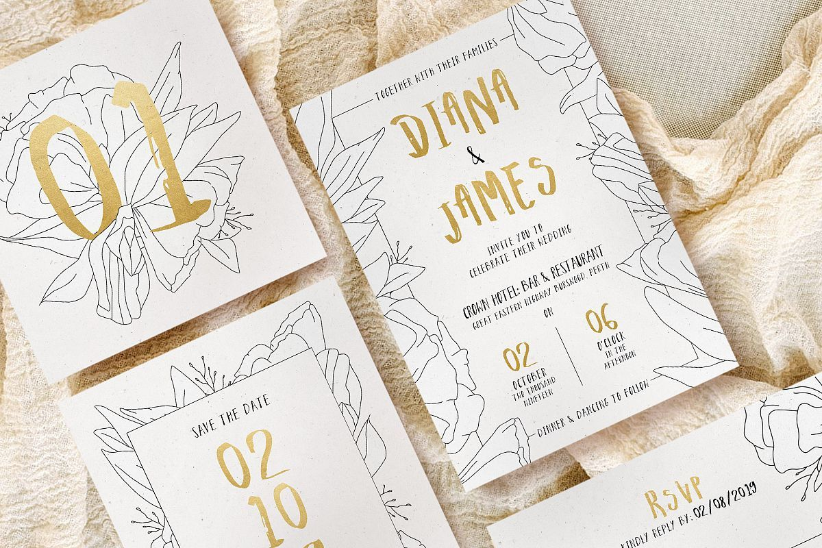 Simple Fl Outline Wedding Suite In 2019 Your