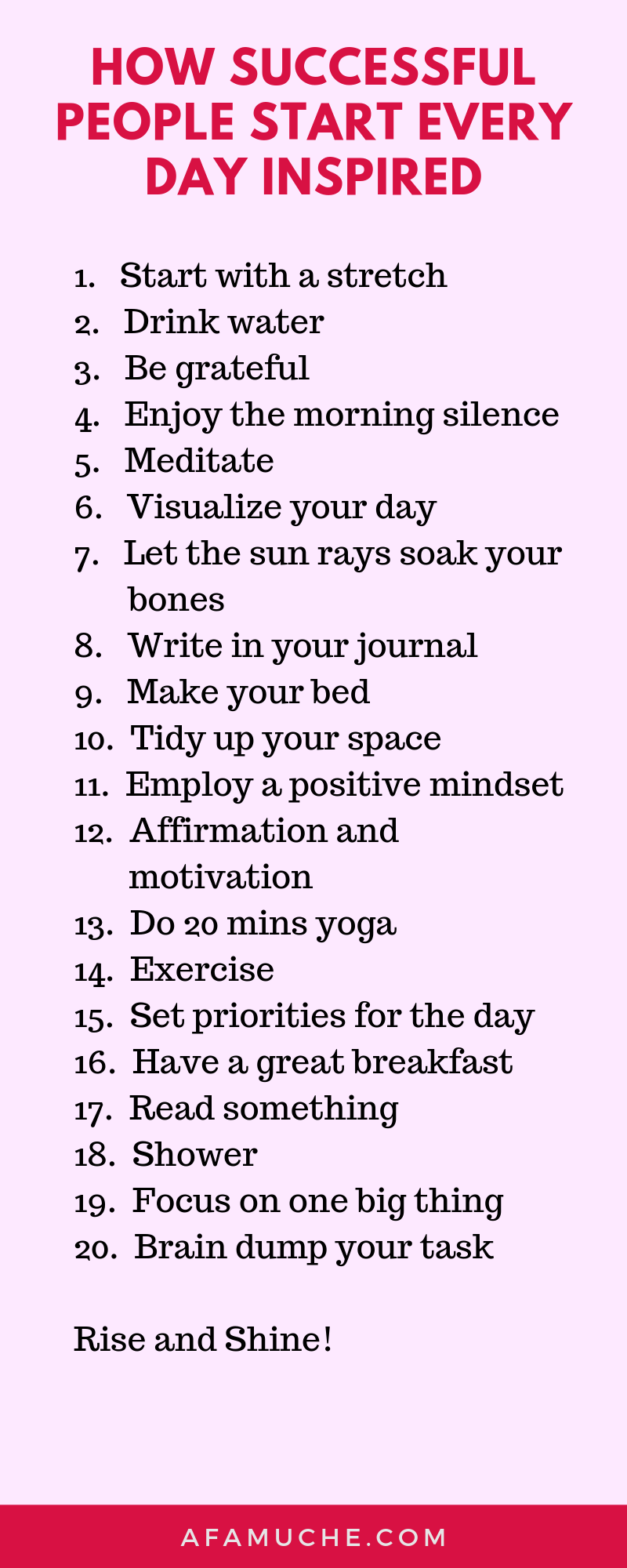 How successful people start every day inspired infographics