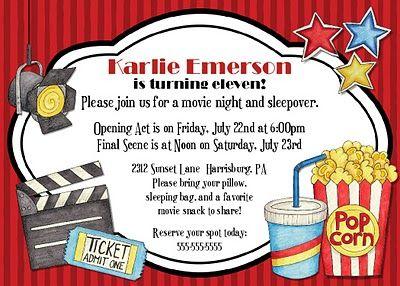Movie Birthday Party Invite Katelin S Birthday Party Invitations