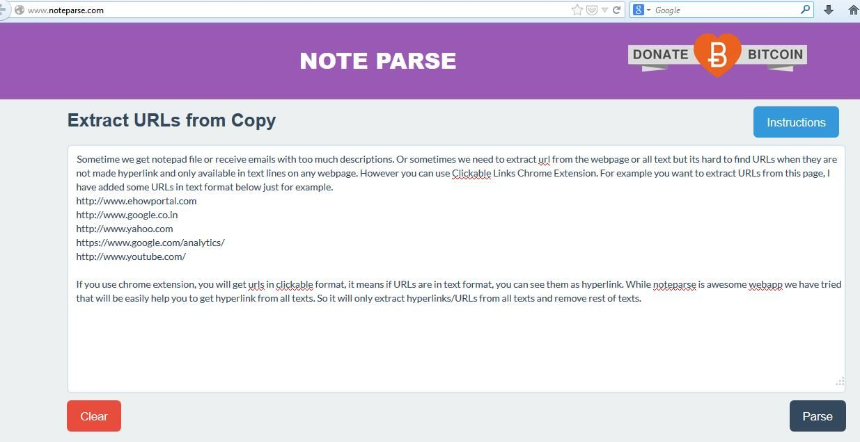 Noteparse Extract URLs from Text Online URL Extractor Tool