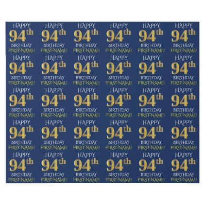 Blue Faux Gold HAPPY 94th BIRTHDAY Wrapping Paper