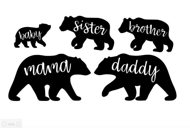 Bear Family Decals Mama Bear Daddy Bear Brother Bear Sister