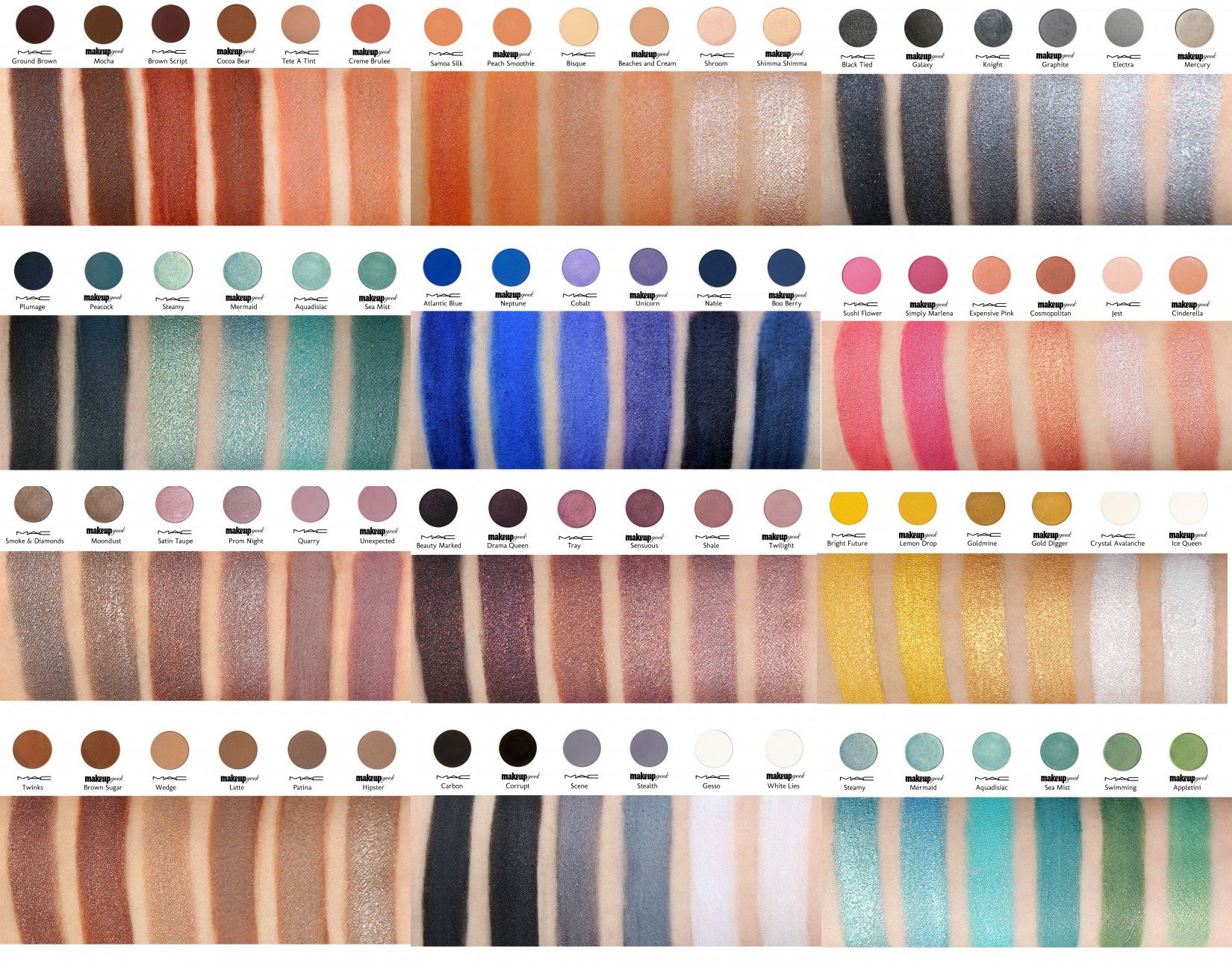 Makeup Geek dupes for MAC eye shadows, with swatches. So
