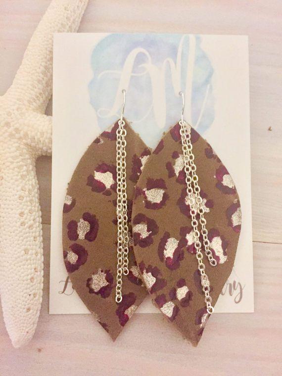 Leopard Print Earrings Leather Leaf Earrings by LaniMakana