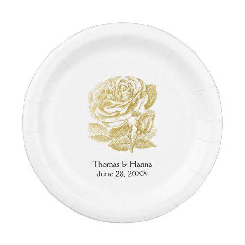 Vintage Rose Sketch Gold Wedding Paper Plate | Gold weddings ...