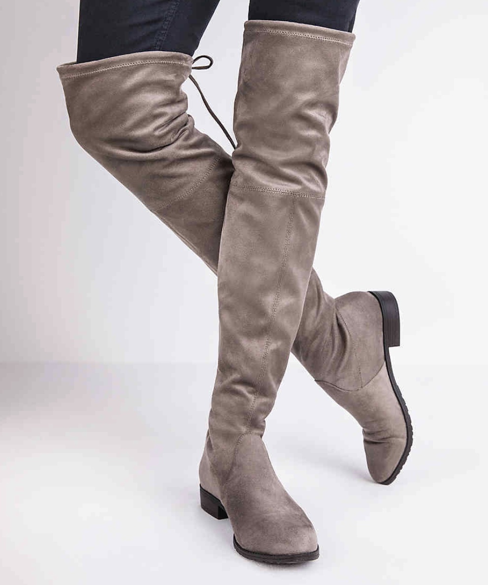 When you are out on those super cold days taupe over-the-knee boots