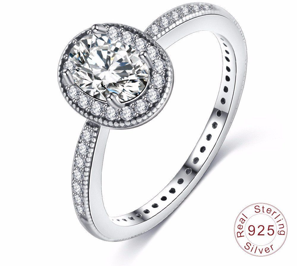 925 Sterling Silver Vintage Rings Clear CZ Engagement