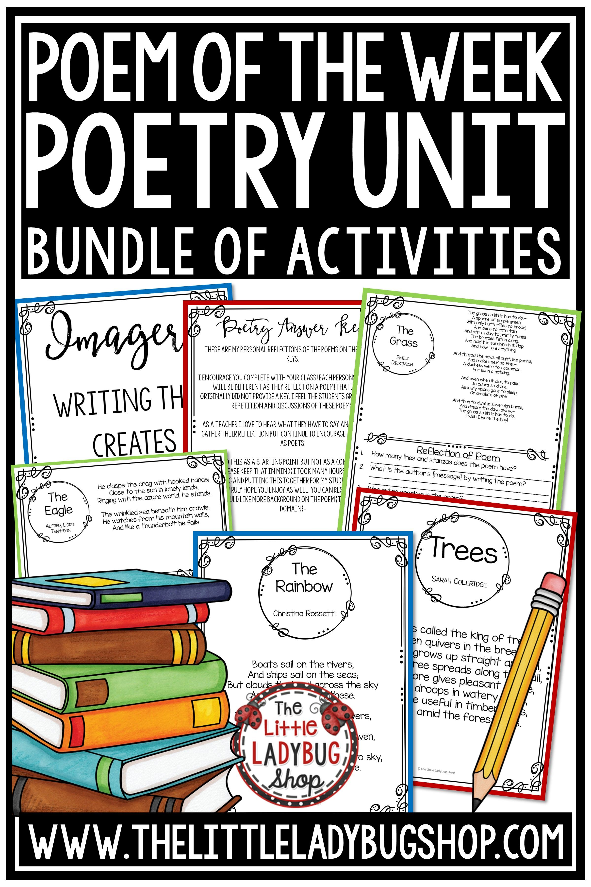 Focused Poem Of The Week Poetry Anchor Charts 4th Grade