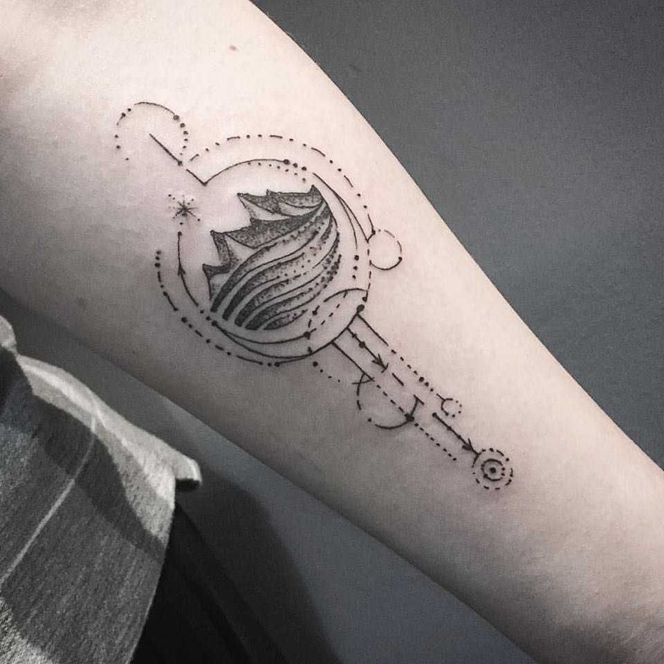 Geometric dot work mountains tattoo by unkle gregory