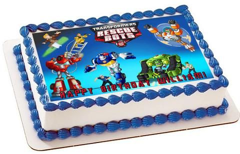 Transformers Rescue Bots 1 Edible Birthday Cake Topper Or