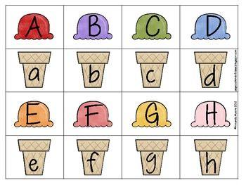 ice cream alphabet match freebie reading readiness alphabet summer ice cream preschool. Black Bedroom Furniture Sets. Home Design Ideas