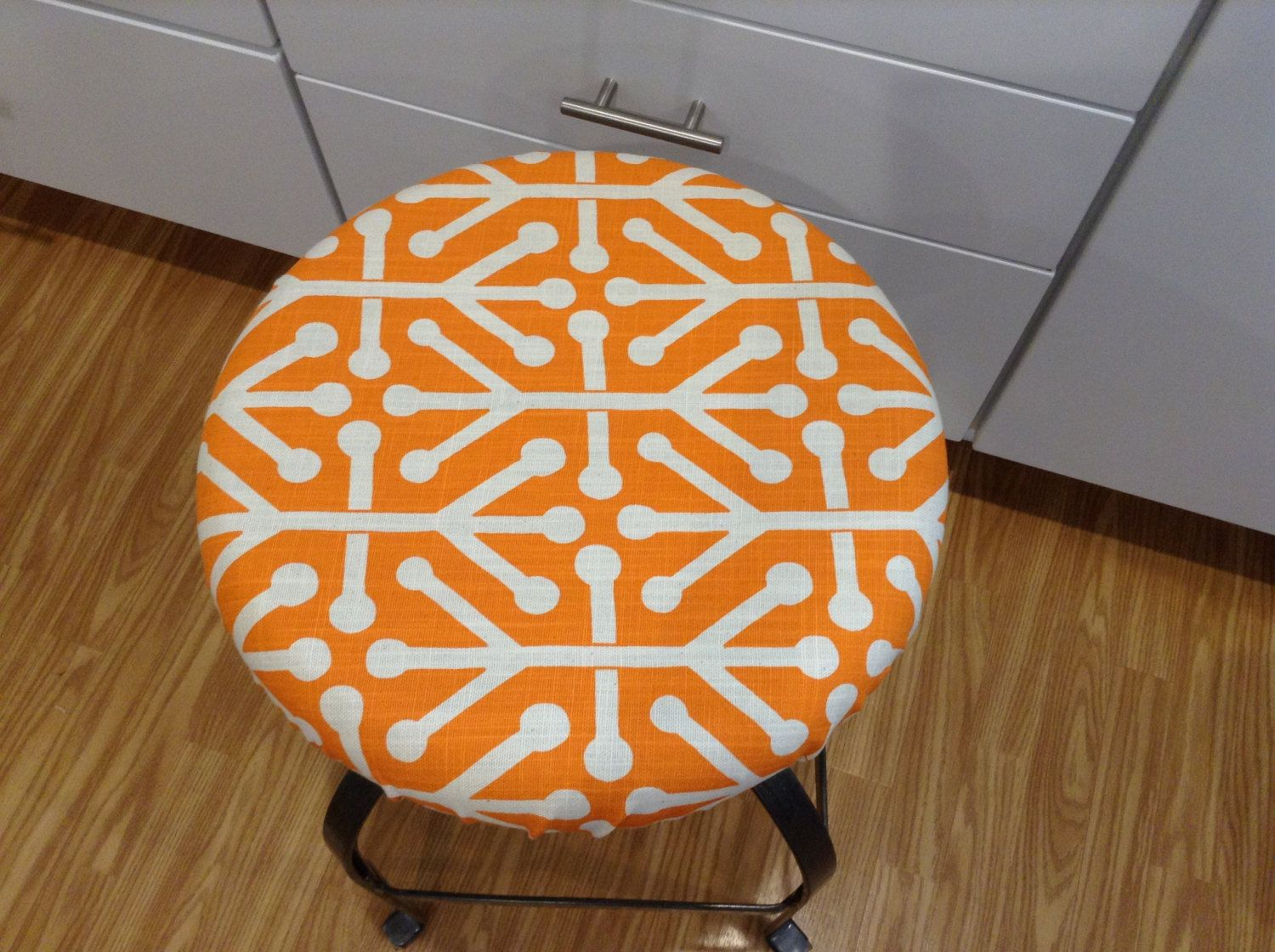 Elasticized Round Barstool Cover Counter Stool Orange On Cream Geometric Print Washable Cotton Fabric Kitchen Pad By Brittaleighdesigns