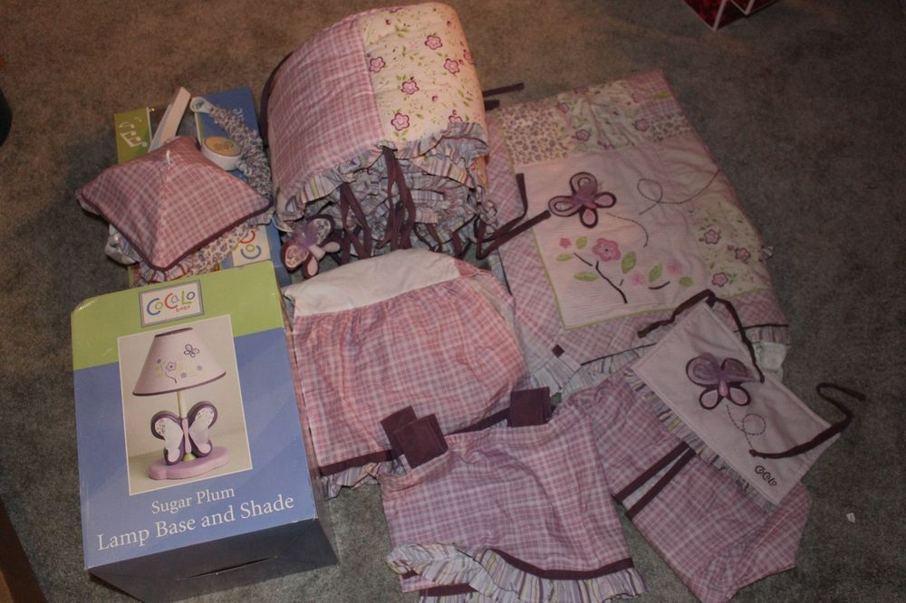 Cocalo Sugar Plum Baby Bedding Set With Lamp And Mobile Diaper
