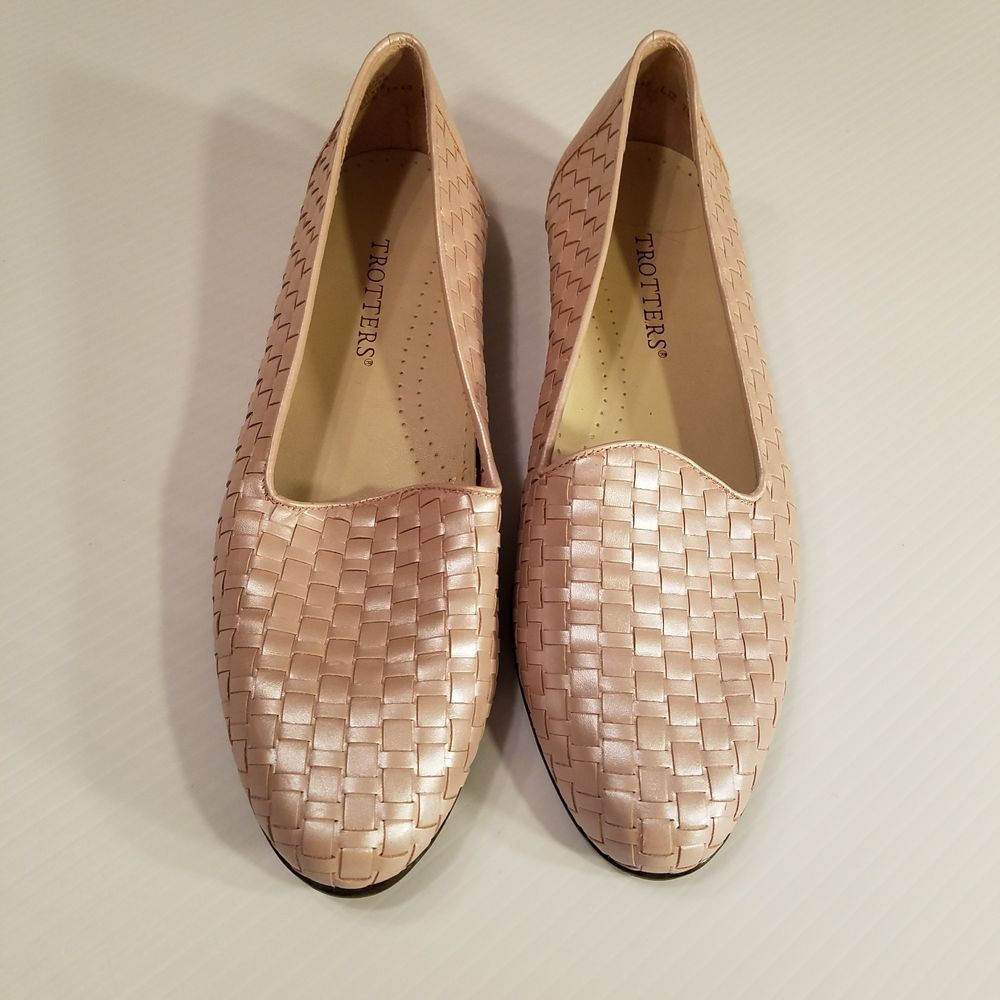 e1f56a3011c Trotters Womens Liz Pink Pearl Leather Woven Slip On Loafers Flats Size 9M   Trotters  Loafers  WeartoWork